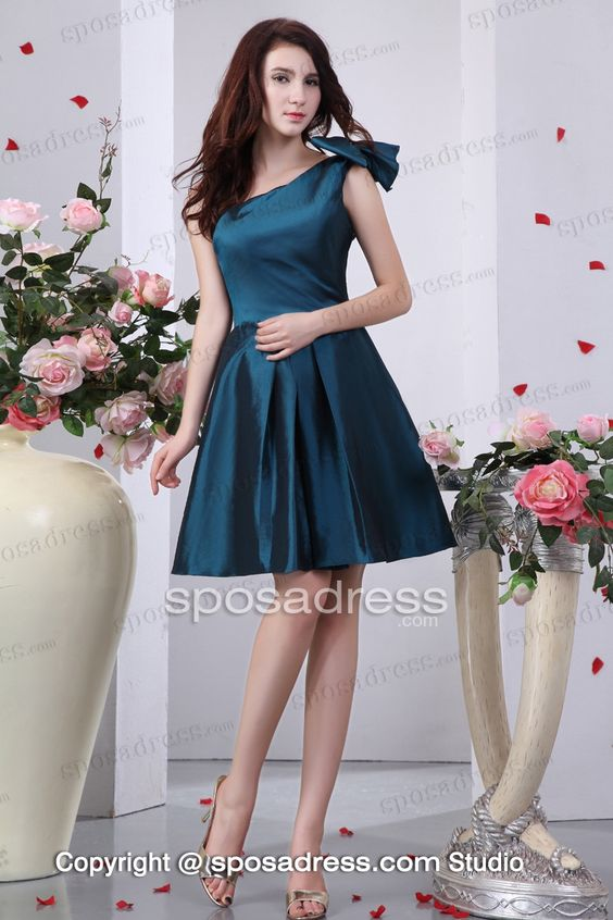 Green A-line One Shoulder Knee Length Taffeta Bridesmaid Dress: