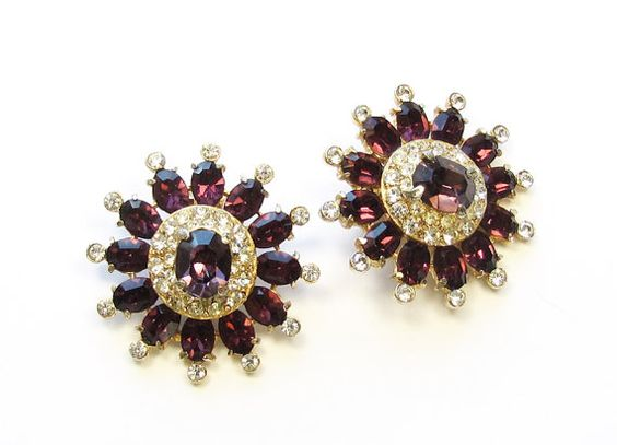 Vintage Wine Purple Rhinestone Clip-on Earrings by SassyBeauties