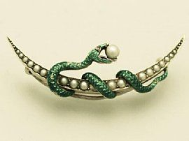 Pearl, Ruby and Enamel, 15 ct Yellow Gold Snake Crescent Brooch – Antique…:
