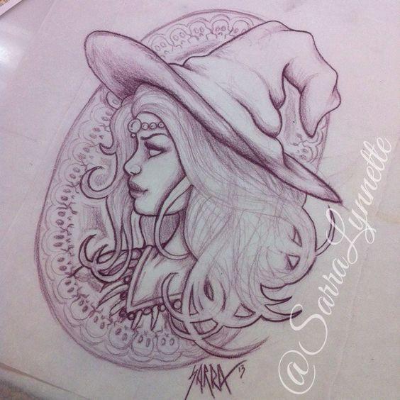 Art Nouveau witch tattoo design by Sarra Lynnette