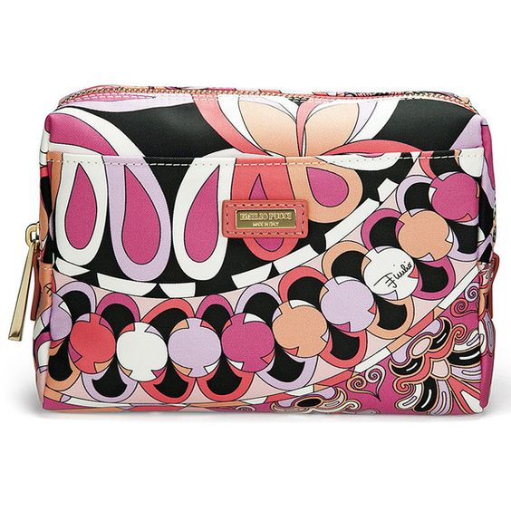 Emilio Pucci Large Printed Cosmetic Case in Coral, Capri Print (€110) ❤ liked on Polyvore featuring beauty products, beauty accessories, bags & cases, cosmetic purse, emilio pucci, cosmetic bags & cases, cosmetic bag and make up purse