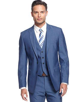 Calvin Klein Medium Blue Vested Slim X Fit Suit - Suits & Suit