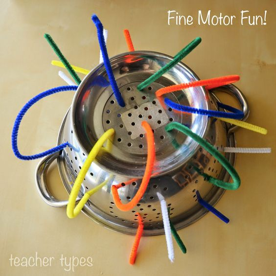 Pipe Cleaners or Straws in a Colander - fine motor fun for baby and toddler play. teachertypes.blogspot.com.au
