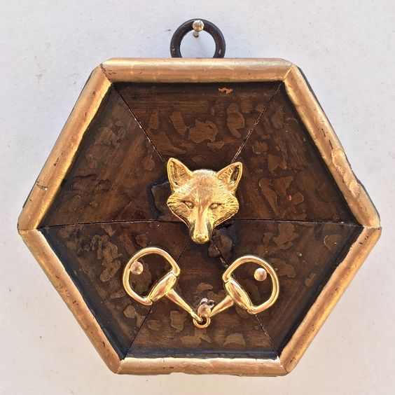 """Gilt Wooden Frame with Fox and Snaffle Bit (3.75"""" wide)"""