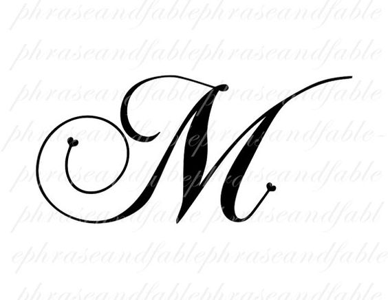 Letter M Hearts 283 Digital Download Alphabet by phraseandfable