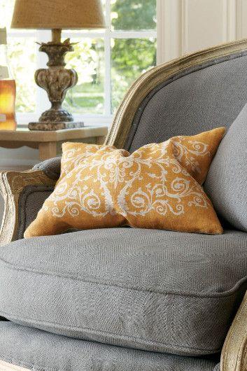 European Farmhouse Rustic Decorating Ideas. Tuscan Scroll Pillow - Orange Pillow. Aidan Gray Londra Lamp.