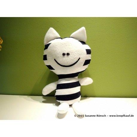 Stofftier Katze Kuschelkatze Kuscheltier, genäht, schwarz, weiß, gestreift