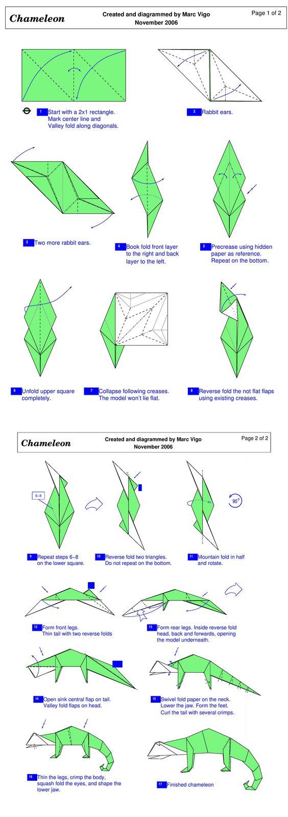 Easy Origami Lizard Dinosaur Diagrams Folding Instructions Instruction 564x1596