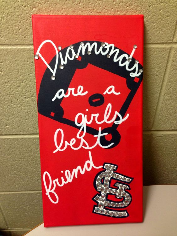 """Diamonds are a girl's best friend"" Baseball Canvas! #canvas #STL"