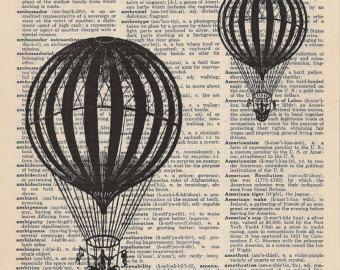 Ballons fliegen schwarz-weiß alte buchen Seite Ballons über die Vintage-Wörterbuch-Seite