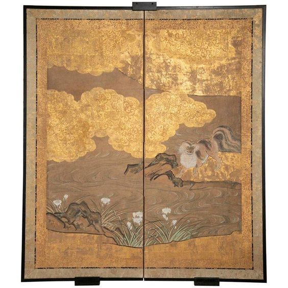 "A two panel screen depicting a musk cat under a cherry tree with gilt decoration. Based on the Kano School.  Japanese Meiji Period.  1850 - 1859  62.5"" h x 54.75"" w x 1"" d"