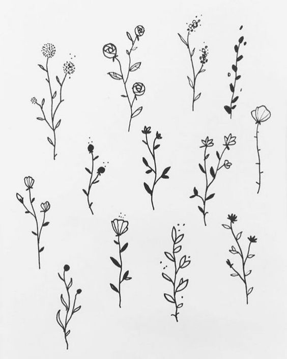 50 ไอเด ยแบบลายส กเล กๆ สไตล ม น มอลสำหร บผ หญ งและผ ชาย Beautiful Flower Drawings Flower Tattoo Drawings Flower Drawing