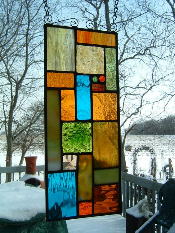 Stained Glass Abstract Panel Geometric Suncatcher by islandglass1, $48.50