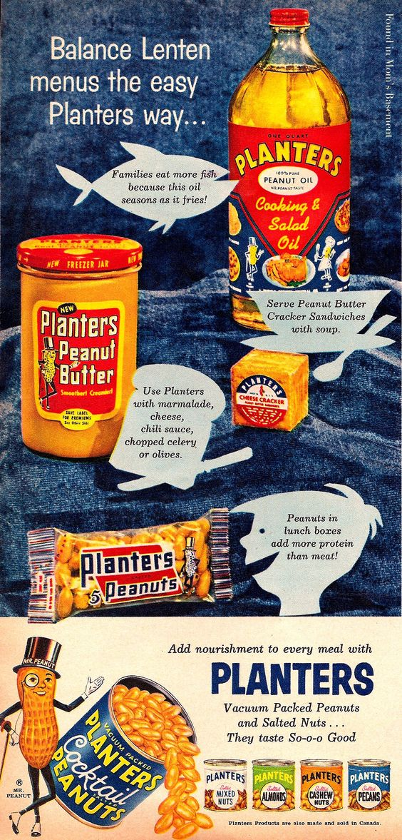 1958 ad for Planter's peanut products