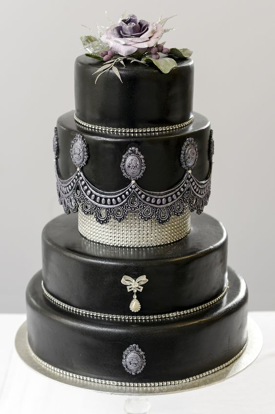 Black vintage style wedding cake with Swarowski crystals ...