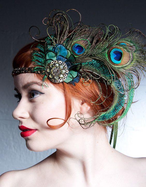 Va va voom - thinking wedding colors ... .  Absinthe Nymph Peacock Feather Flapper  Headband by BaroqueAndRoll, $96.00