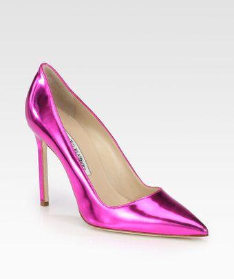 Manolo Blahnik Hot Pink Metallic Leather Pumps shoes www.finditforweddings.com