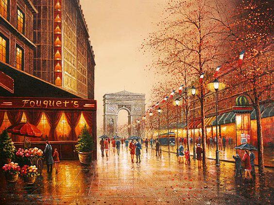 Paisagem Parisiense ao fundo arco do triunfo.