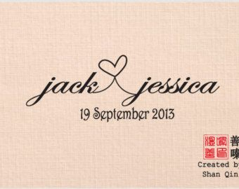 Custom Personalized Name - Save The Date - Handle Mounted Rubber Stamp - Heart connecting name -  W13