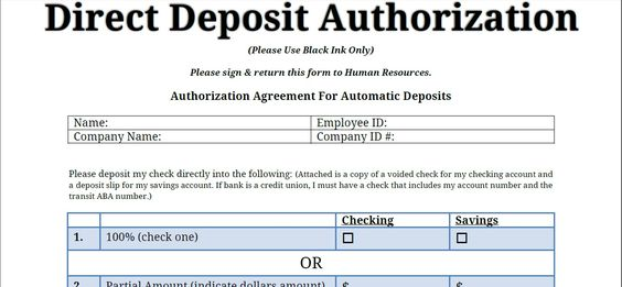 Printable PDF Direct Deposit Authorization Form Printable - authorization request form