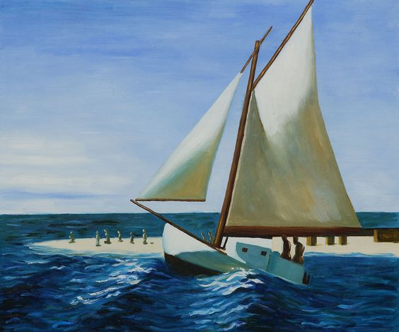 """""""The Martha Mckean of Wellfleet"""" by Edward Hopper; 20"""" x 24"""" hand painted oil painting reproduction on canvas #homedecor #nautical #art"""