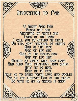 Invocation to Pan Book of Shadows Page BOS Pages Wicca Witchcraft Poster:
