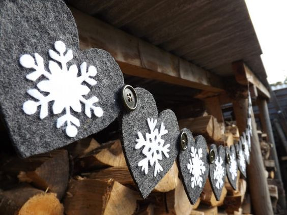 Heart and Snowflake Garland Dark Grey Christmas by FeltWitch, £19.00