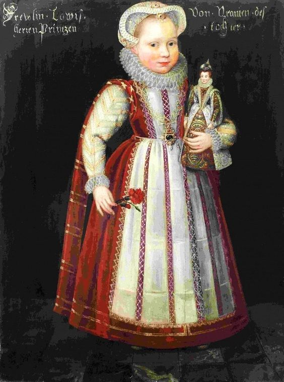 1582 Daniël van den Queborn (Dutch artist, 1552–1602)  Portrait of Louise Juliana of Orange-Nassau aged c. 6, with a doll: