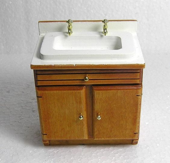 Dolls House 1:12 Furniture Wood Pine Colour Sink Unit #Unbranded