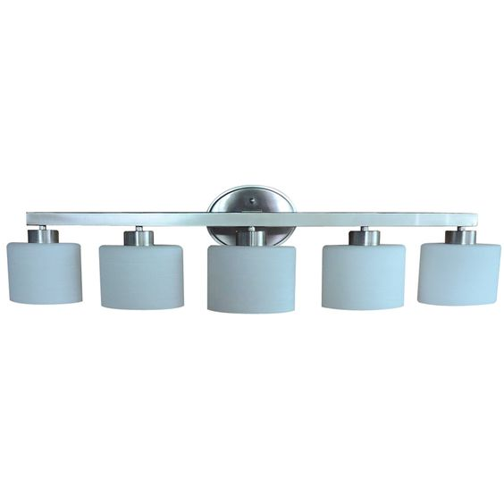Vanity Light With Outlet Lowes : Shop allen + roth 5-Light Merington Brushed Nickel Bathroom Vanity Light at Lowes.com ...