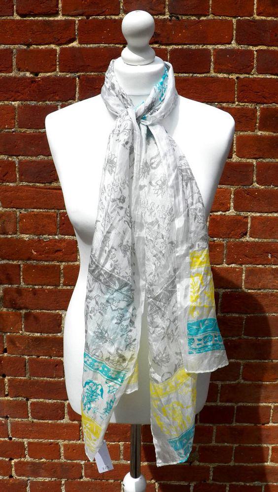 Hand screen printed elegant grey blue white by HollyEdenTextiles, £25.00