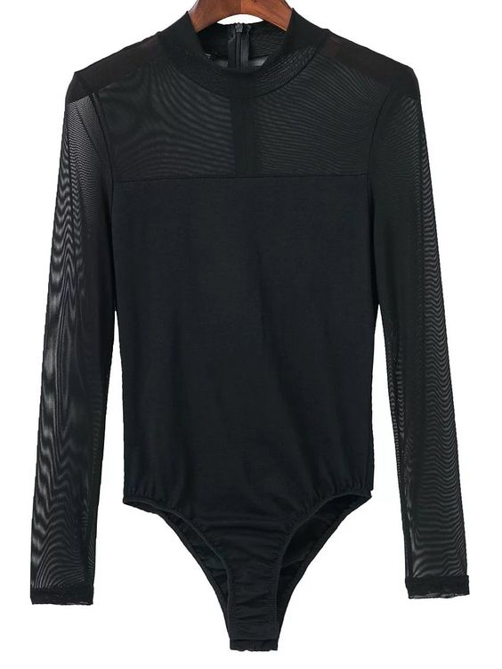 Resultado de imagen de Black-Mesh-Crew-Neck-Zipper-Bodysuit