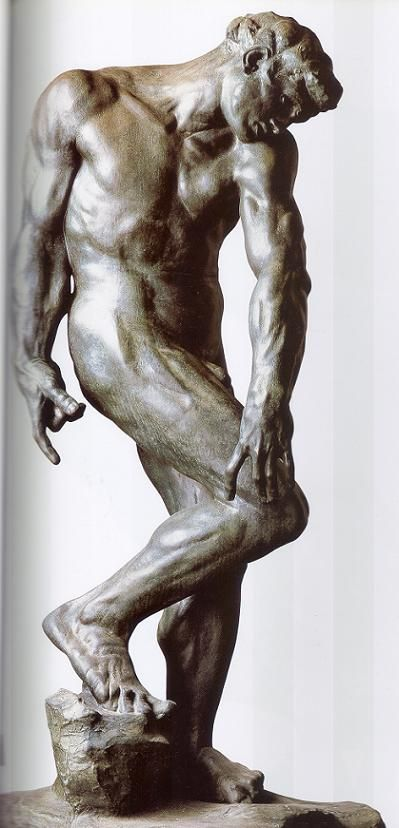 Auguste Rodin: Adán.1880-1881. Bronce.Fundición realizada por la Fábrica de fundiciones Susse.  Se encuentra en el Museo Metropolitano de Arte