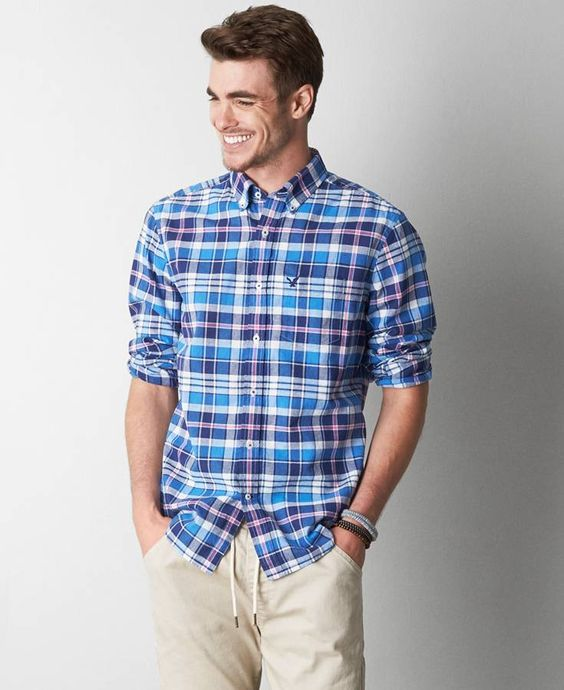 Plaid Button Down Shirt Men