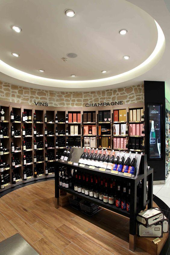 Agencement grande distribution alimentaire mobilier vins Match