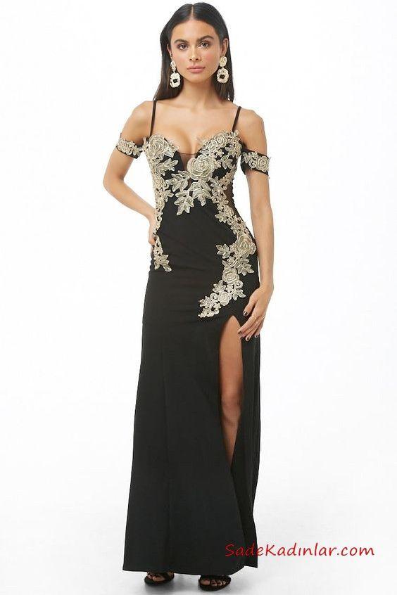 2019 Siyah Abiye Modelleri Siyah Uzun Ip Askili Dusuk Kol Yirtmacli Nakis Islemeli Siyah Abiye Moda Stilleri The Dress