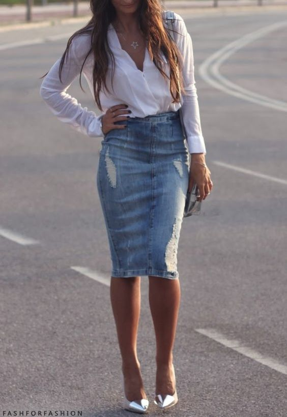 Who wouldn't love to rock a distressed denim skirt and metal pointy toe dress pumps?