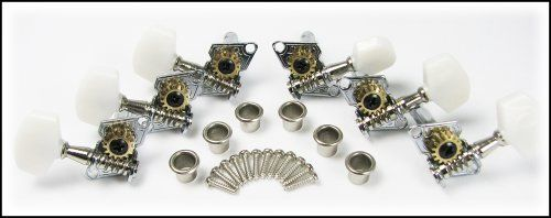 6pc. Open-Gear Guitar Tuners/Machine Heads w/ Nickel-Plated Bushings by C. B. Gitty Crafter Supply. $9.99. This is a set of six guitar tuners/machine heads, complete with mounting screws (12) and vintage-style press-fit nickel-plated metal bushings (6). There are 3 tuners meant for the left side of the headstock, and 3 meant for the right side - if you need all of them to be on one side of the headstock (called 6-in-a-line), this is not the set for you! These tuners can be ...