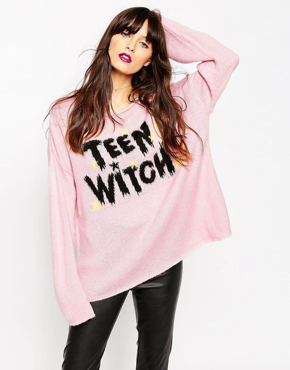 ASOS+Jumper+with+Halloween+Teen+Witch+Slogan