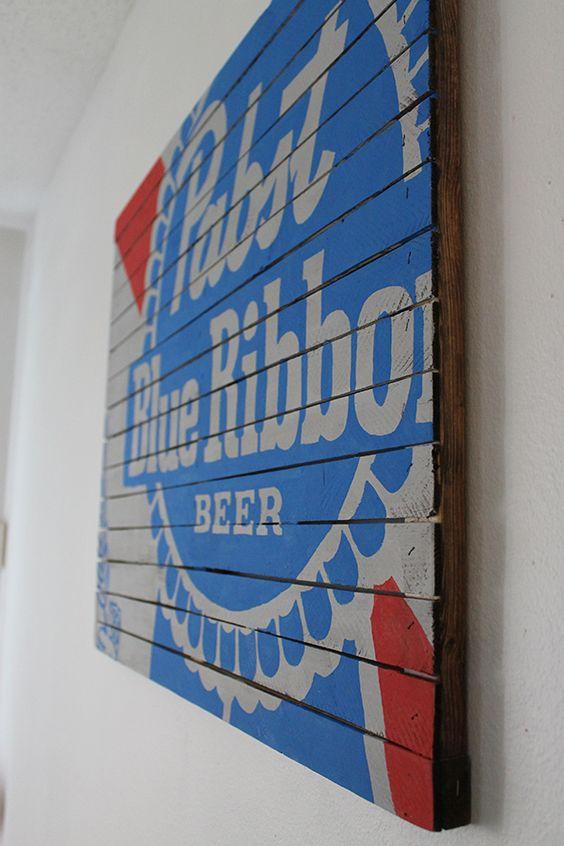 PBR Sign Tutorial - Make your own Pabst Blue Ribbon wall art. PBRart.