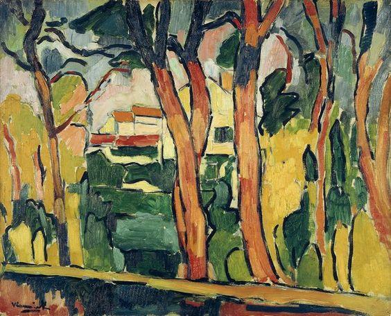 """FAUVISMO. """"Paysage  aux arbres rouges"""" (1906-1907) Maurice de Vlaminck (1876- 1958), fue un pintor fauvista francés.  Vlaminck fue uno de los pintores que causaron escándalo en el Salón de otoño de 1905, que recibió el apelativo de """"jaula de fieras"""", dando nombre al movimiento del que formaba parte junto a Henri Matisse, André Derain, Raoul Dufy y otros.  Vlaminck proviene de una familia de músicos bohemios afincados en París.  En un primer momento Vlaminck no tenía intención de dedicarse a…"""