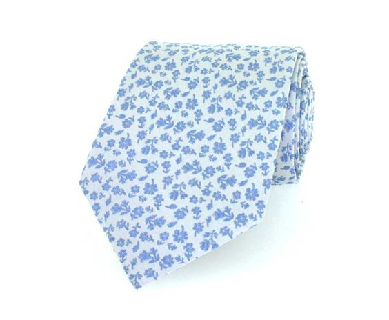 Light Blue Flowers Luxury Woven Silk Ties