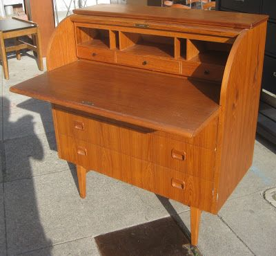 UHURU FURNITURE & COLLECTIBLES: SOLD - Teak Rolltop Desk