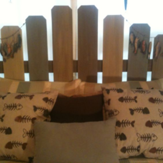Headboard I made from fence slats for beach theme room.  Total cost $33!
