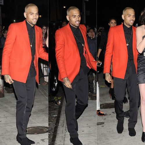0 Chris Brown's Met Gala After Party Custom Givenchy Red Blazer ...