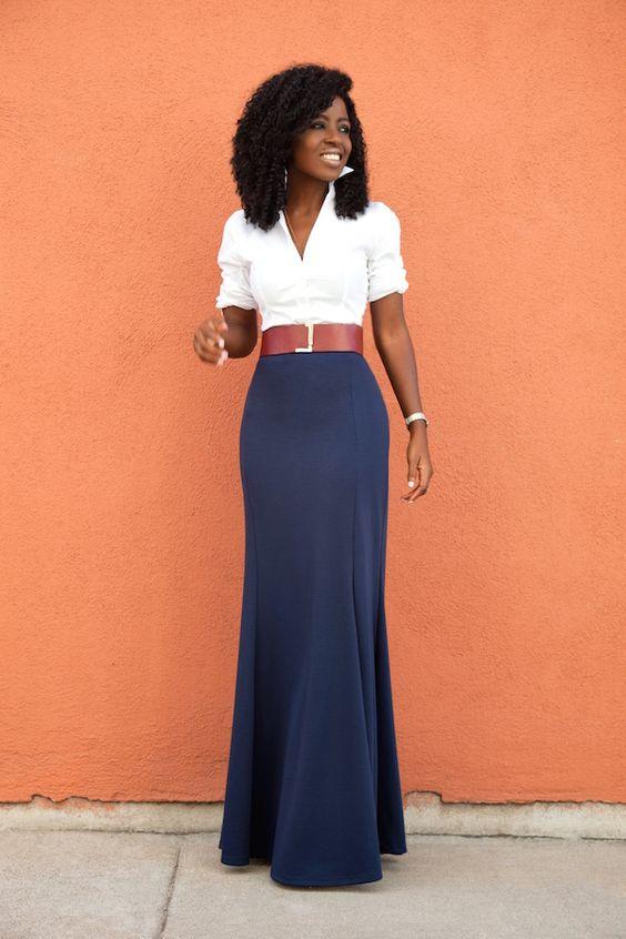 White Button Down Shirt   High Waist Maxi Skirt: