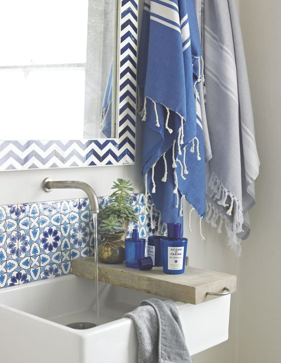 bathroom sink splashback bathroom basin bathroom blue blue and white