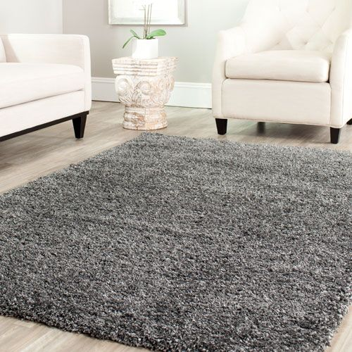 Shag Dark Grey Rectangle: 5 Ft. 3 In. x 7 Ft. 6 In. Area Rug