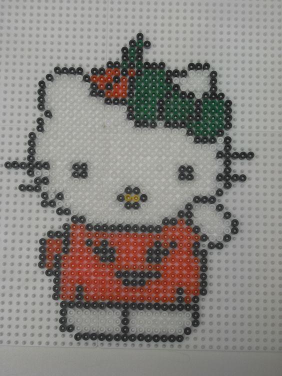 Hello Kitty citrouille hama beads Bügelperlen by marylene perler bead / cross stitch pattern