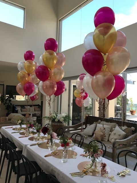 Magenta Gold White Rose Gold 10 Balloon Bouquets
